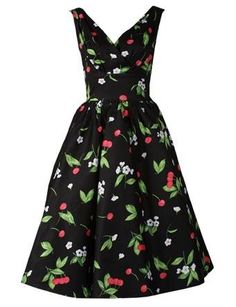 1950er Jahre Retro-Kleid im Kirschendesign.   Dieses Kleid ist für alle Swing liebenden Ladies und vermittelt ein echtes 1950er Jahre-Gefühl.