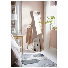 IKORNNES Floor mirror, ash, 20 Tired in the morning? Then hang tomorrow's outfit behind the mirror and allow yourself a few more minutes under the covers. The soft shapes and warm ash veneer create a cozy feeling in the room. Full Body Mirror, Full Length Mirror Bedroom, Floor Standing Mirror, Floor Mirror, Window Cleaner, Modern Room, New Room, Bedroom Decor
