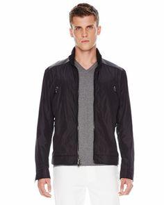 Michael Kors Leather-Panel Nylon Jacket.
