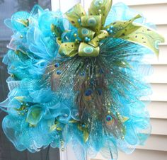 Square Peacock 22 wreath by NancysNowandForever on Etsy, $70.00