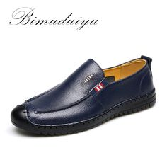 BIMUDUIYU Brand Really Leather Springtime New Style Men's Casual Shoes Soft Light Massage Walking /Driving Breathable Flat Shoes