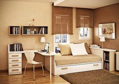 great bedroom paint colors | Small-Bedroom-With-Brown-Paint-Color-544x388.jpg