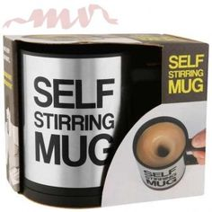Lazy Self Stirring Mug Novelty Work Office Coffee Tea Cup Present Gift - UK Dispatch - Cherry's Store Café Chocolate, Quirky Gifts, Beef Jerky, White Elephant Gifts, Baking Ingredients, Coffee Cans, Best Gifts, Self, Stainless Steel