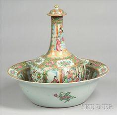 Rose Medallion Porcelain Water Bottle and Basin