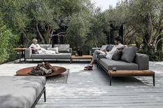 Grid modular outdoor sofa.