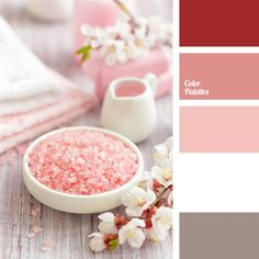 Soft combination of pastel hues: pink and gray-pink supplemented with saturated dark pink. This palette suits well table decor, holiday and casual. It will fit organically a wedding celebration, and an early breakfast in cottage as a family holiday or a cozy afternoon tea.