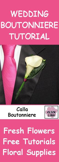 FREE TUTORIALS! http://www.wedding-flowers-and-reception-ideas.com/make-your-own-wedding.html How to Make a Calla Lily Boutonniere - Easy Wedding Flower Tutorials White calla lily boutonniere backed by a folded aspidistra leaf.