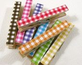 Clothespins. Set of Ten. Rainbow Gingham $10 The Pampered Crown on Etsy - for Farm Party Photo Timeline