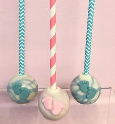 Pink or Blue 💙💗💙💗 Gender Reveal Cake Pops Baby Shower Sweets, Beautiful Baby Shower, Baby Feet, Gender Reveal, Cake Pops, Pink Blue, Cakepops, Baby Shower Treats, Baby Foot