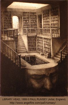 LIBRARY HEAD, 1999 © PAUL RUMSEY (Artist, England). Surreal Art. Choose carefully what you decide to store in your libraryhead . There isn't room for everything. -pfb ... Give credit where due. Pls keep attribution & artist site link when repinning or posting to other social media (ie blogs, twitter, tumblr etc). -pfb ... See: http://www.pinterestnews.org/2012/06/23/beginner HOW TO find artist's website: http://www.graphicsfairy-crafts.com/2012/03/how-to-find-original-source-of-image-on.html