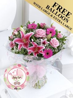 Featuring pink germini, pink oriental lilies and light pink large-headed roses hand-tied with salal and eucalyptus, wrapped and finished with a pink ribbon by Flowers.ie. Order Flowers Ireland
