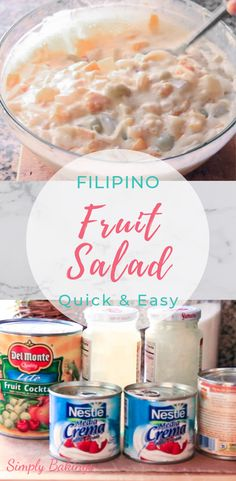 Here's a sweeet, creamy and delicious Filipino Fruit Salad that is perfect for parties or any occasion! Give this a try! French Desserts, Holiday Desserts, Holiday Recipes, Sweet Desserts, Filipino Appetizers, Filipino Desserts, Filipino Food, Filipino Recipes, Custard