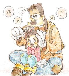 Goofy and Little Max   by Y @ Pixiv.net // goofy and max; goof troop
