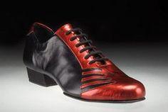 San Telmo Tango Shoes for Men-Black w/Red Majestic