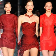 For the Fall-Winter 2012 couture collection, models rocked the runway swathed in lipstick shades of red #hautecouture #luxury  #modewalk