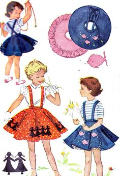 1950s Girls Skirt Pattern Simplicity 1817 Girls Circle Suspender Skirt Buttoned In Petticoat Childrens Vintage Sewing Pattern Breast 23