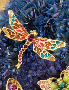 Breea Petite Dragonfly Pin - Bouquet: What better way to add a colorful, whimsical note than to adorn yourself (or a friend) with a gorgeous bejeweled Breea Petite Dragonfly Pin. Each is hand-enameled on front and back, and decorated with Swarovski® crystals.