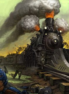 Post with 1109 votes and 91702 views. Tagged with art, steampunk, vehicles, science and tech; Shared by RustyGrey. Steampunk City, Arte Steampunk, Steampunk Artwork, Fantasy World, Fantasy Art, Steampunk Machines, Train Illustration, Steampunk Furniture, Train Art