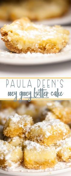 Deen's Ooey Gooey Butter Cake This IS the classic Ooey Gooey Butter Cake Recipe from Paula Deen that you've been looking for.This IS the classic Ooey Gooey Butter Cake Recipe from Paula Deen that you've been looking for. Bon Dessert, Dessert Bars, Appetizer Dessert, Dessert Bread, Food Cakes, Cupcake Cakes, Cupcakes, Muffin Cupcake, Vegetarian Cake