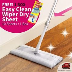 """Easy Cleaning Mop Magicclean Wiper Set ชุดไม้ถูพื้นหัวแบนแบบไฟฟ้าสถิต ใช้ทำความสะอาดดักจับฝุ่นและเส้นผมได้หมดจดง่ายดายเพียงมือเดียว """"แผ่นเดียวอยู่...ไม้เดียวจบ"""" มาพร้อมแผ่นทำความสะอาดในกล่อง 5 แผ่น BOX4699   Lazada.co.th"""