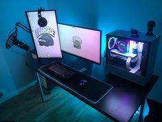 Temporary setup until I can get a new apartments Best Pc Setup, Best Gaming Setup, Gamer Setup, Gaming Room Setup, Gaming Rooms, Computer Desk Setup, Gaming Computer, Gaming Desktop, Computer Programming