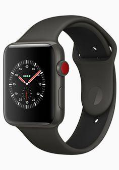 Die neue Smwartwatch Watch Series 3 von Apple in Schwarz. Der rote Punkt auf der Digital Crown markiert, dass die Apple Watch Series 3 über ein LTE-Modem verfügt. Damit wird die Apple Watch noch unabhängiger vom iPhone, da sie sich nun selbst mit dem Mobilfunknetz verbinden kann. Im Inneren setzt Apple das neue Betriebssystem watchOS 4 ein. [2160]