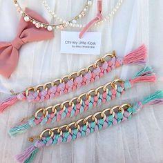 "We named it ""Marshmallow"" #wovenbracelet #handmade #armcandy"