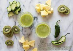 Energizing Kiwi Juice With A Jalapeño Kick - pineapple kiwi jalapeno smoothie Green Juice Recipes, Raw Food Recipes, Beet Smoothie, Smoothie Recipes, Yummy Drinks, Healthy Drinks, Healthy Foods, Healthy Eating, Healthy Potluck