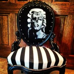 Day of the Dead Marilyn Monroe chair! THIS is my perfect vanity chair. Gothic Furniture, Funky Furniture, Skull Furniture, Furniture Projects, Eclectic Furniture, Painted Furniture, Love Home, My Dream Home, Rockabilly Home Decor
