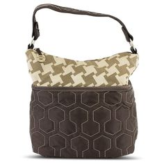 Travelon Quilted Nylon Zip-Top Train Case - Brown-Houndstooth Pattern