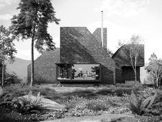 "moodboardmix: ""Catskill Hut, Catskills, NY, USA by Corpus Studio "" volume schakeling foto zwart wit compositie dak vorm erker"