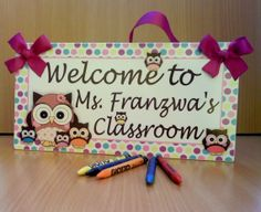 personalized welcome to class teacher door sign - owls themed classroom decor - welcome teacher class plaque gift - free shipping - PL343 on Etsy, $15.99