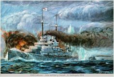 Versión final oleo del barco de guerra Alemán SMS Lutzow