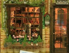 View throught the scale window and door into a garden shed built inside books by Kristine Hill