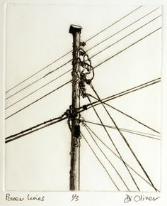 'Power lines'  Drypoint  Di Oliver
