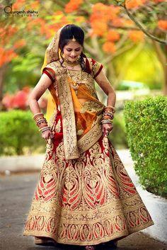 """Photo from Durgesh Shahu Photography """"Wedding photography"""" album Red Lehenga, Bridal Lehenga, Saree Wedding, Lehenga Choli, Sarees, Indian Wedding Outfits, Indian Outfits, Indian Weddings, Beautiful Girl Photo"""