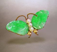 Imperial Jade 14K Gold Butterfly Brooch Trembler Pin Pearl Ruby Vintage 1940s Jewelry. $525.00, via Etsy.