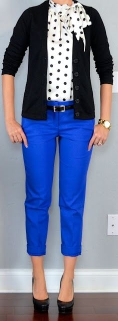 The polka dot shirt and bright blue pants really spice up this cute work outfit! Adorable! Maybe even yellow pants?