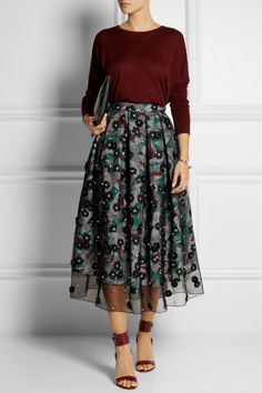 The chic contrast between elegant skirt and sweater, outfit by British designer HOLLY FULTON, fall 2014