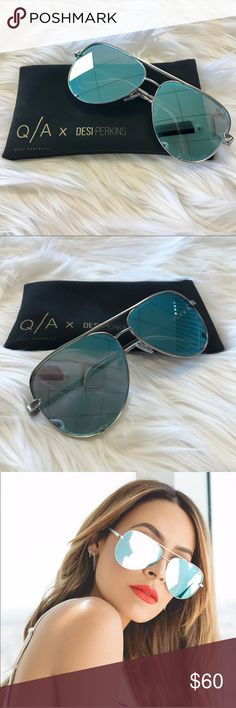 Quay x Desi High Key Cute oversized quay high key in blue. Only worn once and in pretty good condition! Quay Australia Accessories Sunglasses