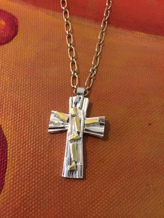 Stunning abstract crucifix in silver and gold plate. Trendy Jewelry, Crucifix, Crosses, Arrow Necklace, Plate, Contemporary, Abstract, Silver, Gold