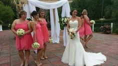 """A """"Classic Bride"""" and her Bridesmaids on her wedding day."""
