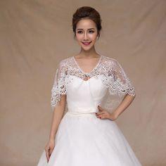 New Bridal Wrap Wedding Cloak Shawl White Shrug Cape Lace Sheer Bolero Jacket