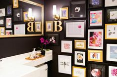 Beautiful gallery wall in a bathroom.