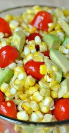 Roasted corn salad with honey lime dressing Recipe ~ The dressing gives a touch of sweetness to the veggies!