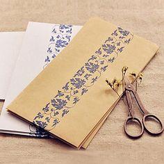 Blue Flower Pattern Kraft Paper Envelop - Set of 12 (More Colors) – AUD $ 9.69