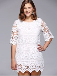 6269318feba Chic Plus Size Floral Lace Overlay Lined Dress For Women