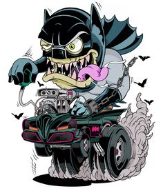 Adam West Bat-Fink, this design is available at my society6 :http://society6.com/MisterBlack (2013) #batman #batmobile #ratfink #hotrod #cartoon #illustration #design #graphic #art #monster