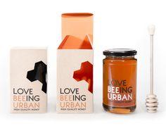 Love beeing urban honey made by Viktor Forsman Honey Packaging, Drink Sleeves, Packaging Design, Bee, Urban, Honey Bees, Bees, Design Packaging, Package Design