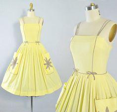 Vintage 50s Sundress / 1950s Dress YELLOW by GeronimoVintage